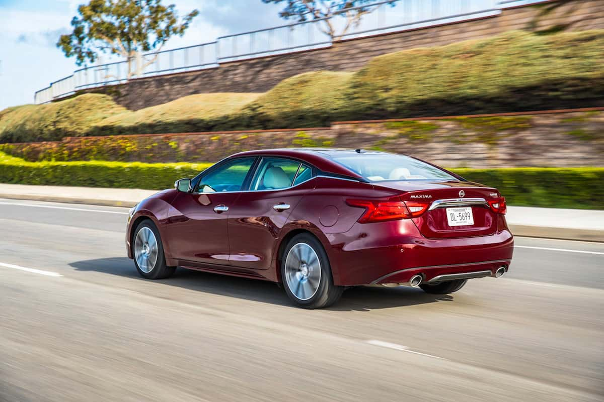 2018 Nissan Maxima rear shot rolling in red