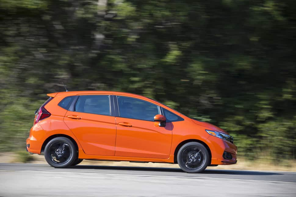 2018 Honda Fit Sport orange rolling sideview