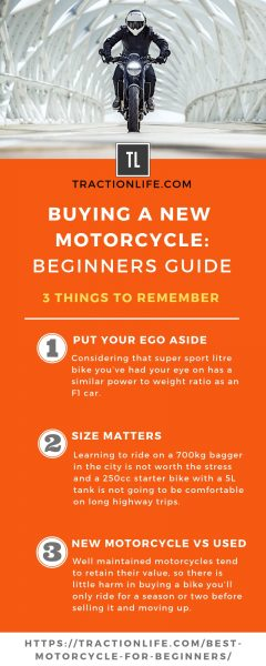 buying a new motorcycle 3 things to remember infographic