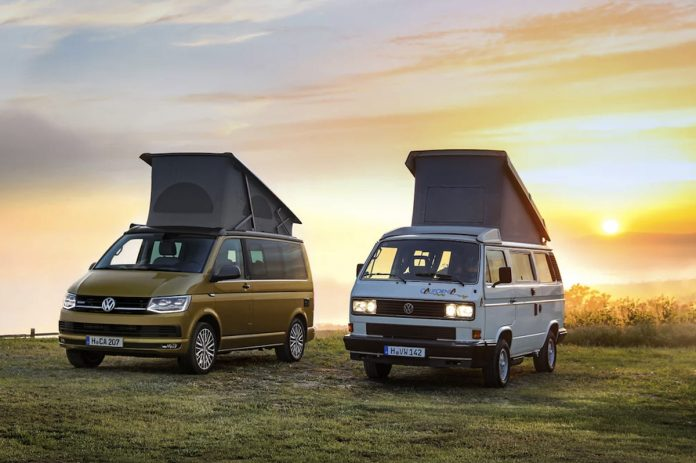 vw california 30 years camper van next to original t3 california copy