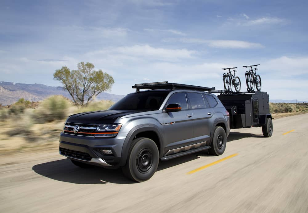VW Atlas Basecamp Concept front view driving on the highway
