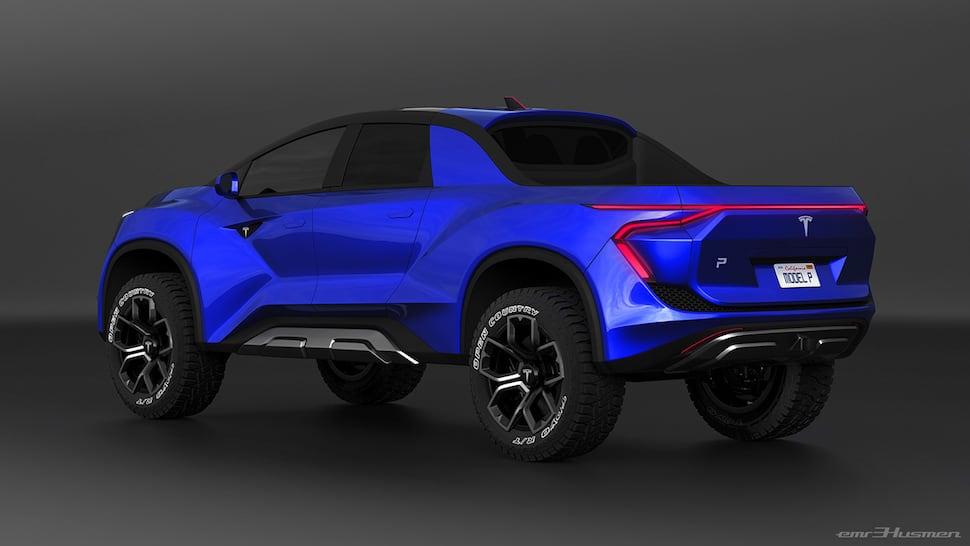 tesla truck concept by designer Emre Husmen rear blue
