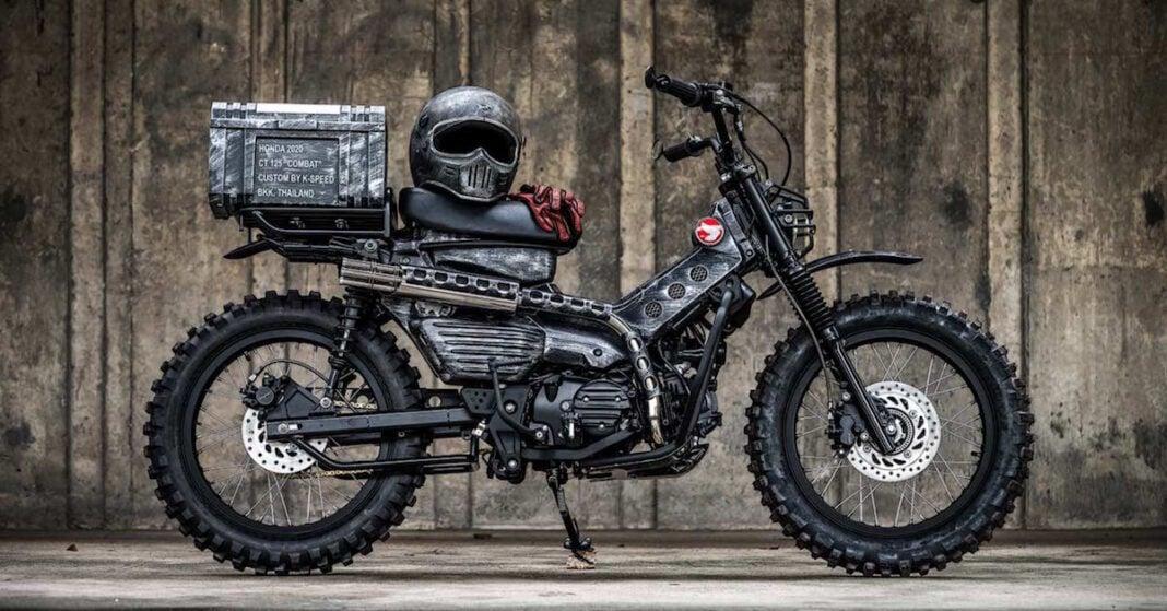 2021 honda ct125 hunter cub custom by k speed side view with helmet