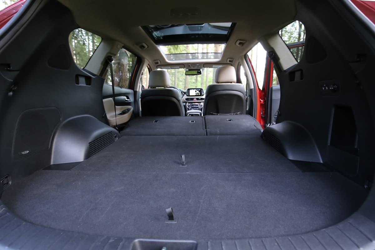 2020 Hyundai Santa Fe compact SUV rear cargo seats down