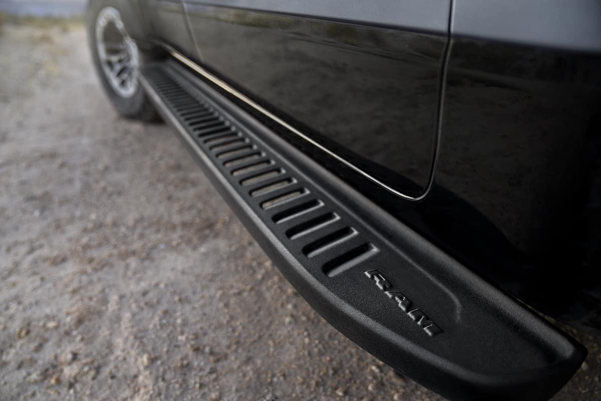 Mopar off-road running boards. Constructed of lightweight cast aluminum with a rugged spray-in bedliner and an anti-slip texture coating, exact-matched running boards fit tightly to the vehicle with no drilling necessary. Mopar Part # 82215508AC|$995 MSRP