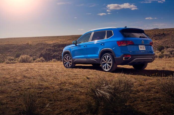 2022 VW Taos compact SUV rear view