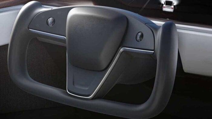 2022 Tesla Model S interior yoke steering wheel