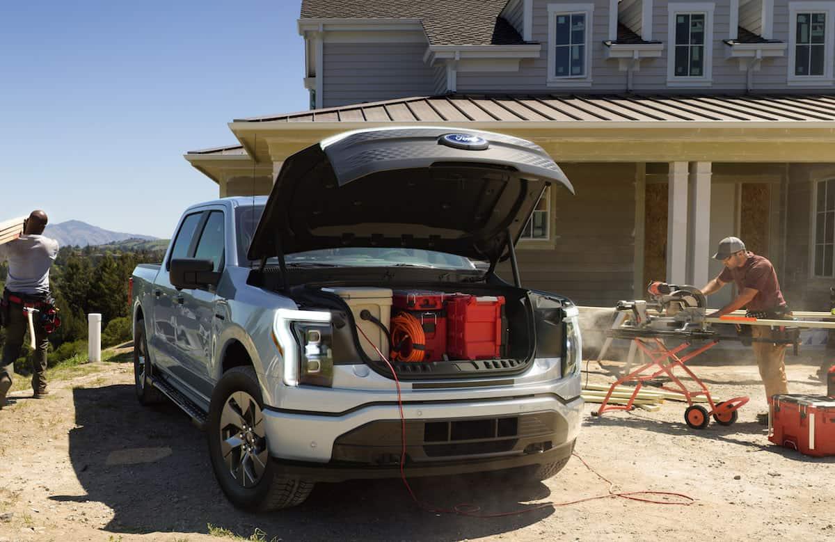 2022 Ford F-150 Lightning Electric Pickup frunk front trunk storage