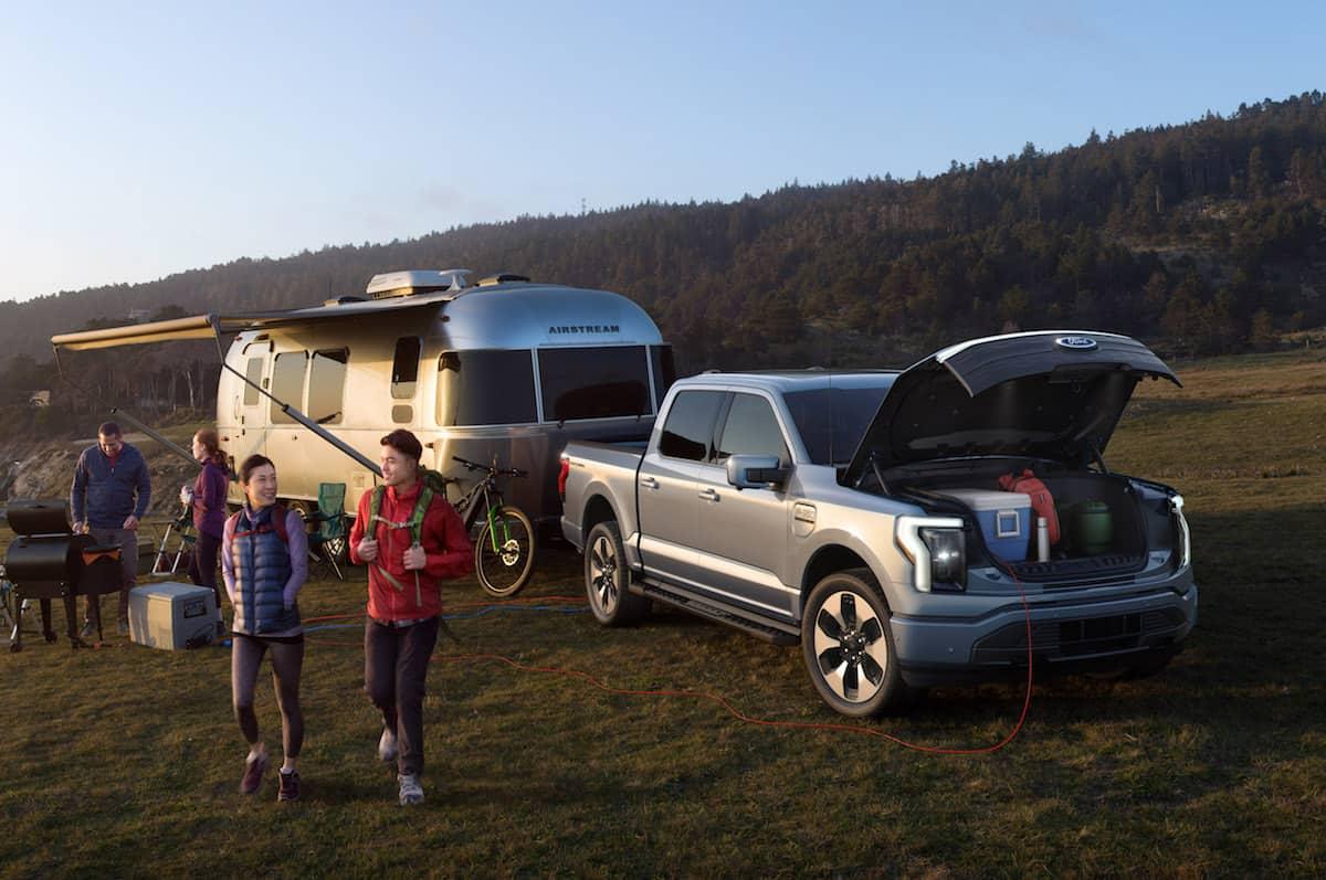 2022 Ford F-150 Lightning Electric Pickup platinum camping