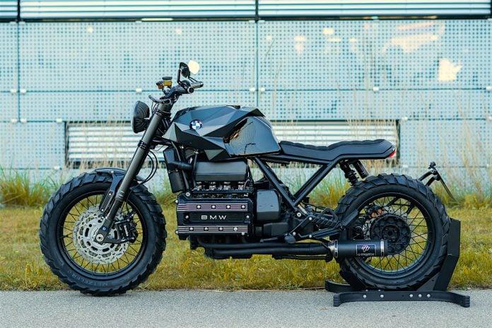 "Crooked Motorcycles' BMW K100 ""Nightcrawler"" sideview"